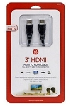 GE 3' High Speed HD 3D 4k 1080p HDMI Cable